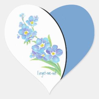 Olvídeme flor no de encargo del jardín de la pegatina en forma de corazón
