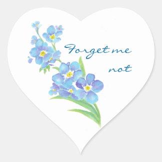 Olvídeme flor no de encargo del jardín de la calcomanía de corazón personalizadas
