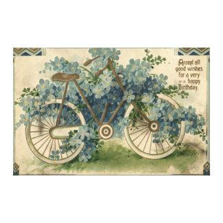 Olvídeme no cumpleaños de la bicicleta impresión en lienzo estirada