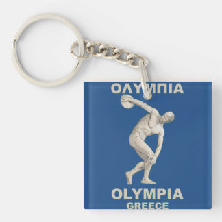 Olympia antiguo Grecia Llavero Cuadrado Acrílico A Doble Cara
