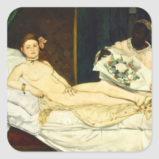 Olympia by Edouard Manet Square Stickers