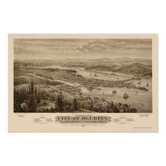 Olympia, mapa panorámico de WA - 1879 Póster