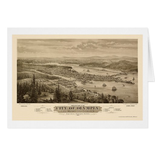 Olympia, mapa panorámico de WA - 1879 Tarjeta De Felicitación