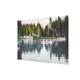 Olympia Park View of the Pond, Rowboat Scene Canvas Print
