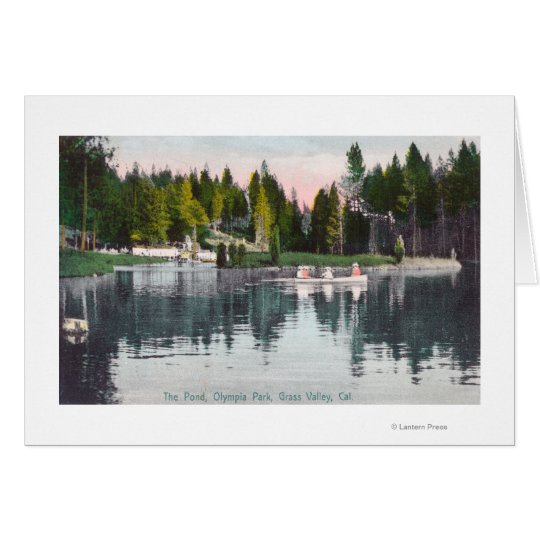 Olympia Park View of the Pond, Rowboat Scene Card