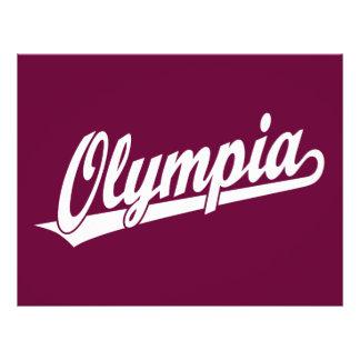 Olympia script logo in white flyer