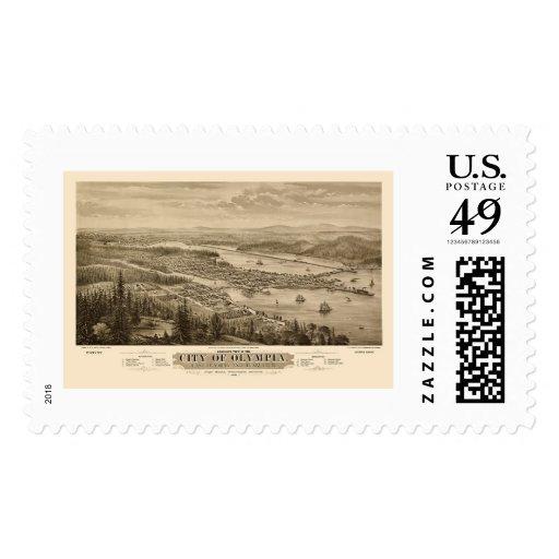 Olympia, WA Panoramic Map - 1879 Stamp