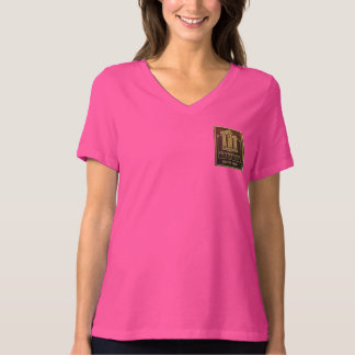 """Olympian """"Eating Chocolate"""" Womans V-neck; Pink T-Shirt"""