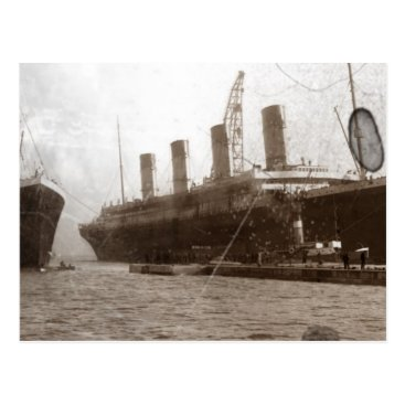 Valentines Themed Olympic and Titanic Postcard