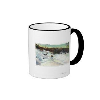 Olympic Bobsled Run View on Mt. Van Hoevenberg Ringer Coffee Mug