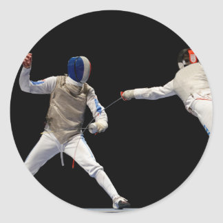 Olympic Fencing Lunge and Parry Classic Round Sticker