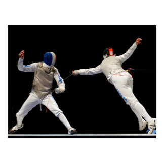 Olympic Fencing Lunge and Parry Post Card