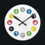 """Olympic Gymnastics Wall Clock<br><div class=""""desc"""">Perfect gift for the gymnastics fan in your life! Copyright CristyDesigns.com.</div>"""