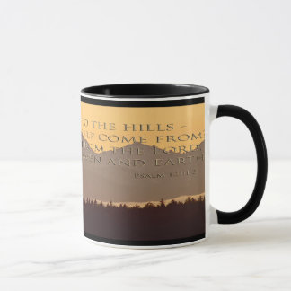 olympic mountains with psalm 121:1-2 mug