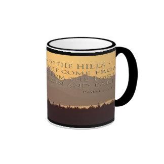olympic mountains with psalm 121:1-2 mug