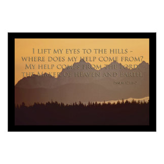 olympic mountains with psalm 121:1-2 poster