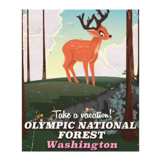 Olympic National Forest USA travel poster Canvas Print