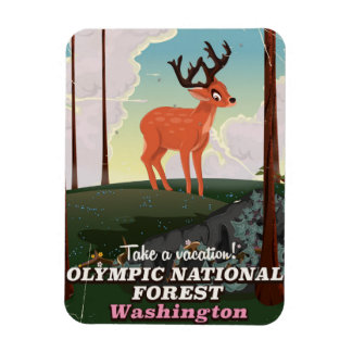 Olympic National Forest USA travel poster Magnet
