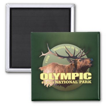 USA Themed Olympic National Park (Elk) WT Magnet
