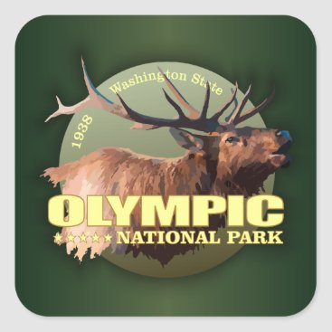 Beach Themed Olympic National Park (Elk) WT Square Sticker