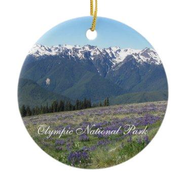 Christmas Themed Olympic National Park Photo Ceramic Ornament