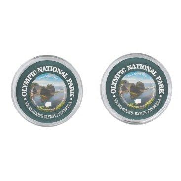 USA Themed Olympic National Park Silver Cufflinks