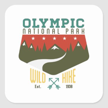 Christmas Themed Olympic National Park Square Sticker