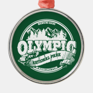Olympic Old Circle Green Metal Ornament