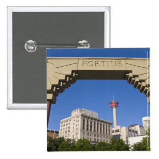 Olympic Plaza and Calgary Tower, Alberta, Canada 2 Inch Square Button