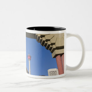 Olympic Plaza and Calgary Tower, Alberta, Canada Two-Tone Coffee Mug