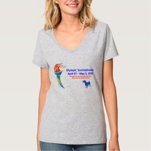 Olympic Scentathalon Ladies V_neck T_Shirt
