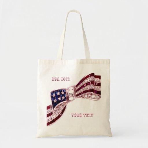 Olympics USA Flag Bow Costume Jewelry AddUrText Budget Tote Bag