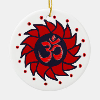 Om and Red Pinwheel - Yoga Ornament