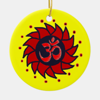 Om and Red Pinwheel - Yoga Ornaments