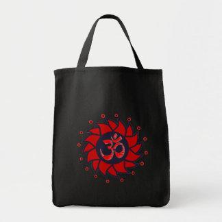 Om and Red Pinwheel -Yoga Tote Bags