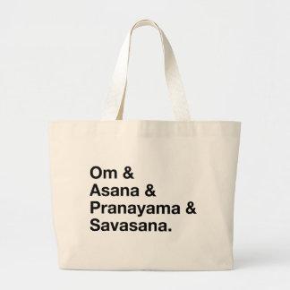 om & asana large tote bag