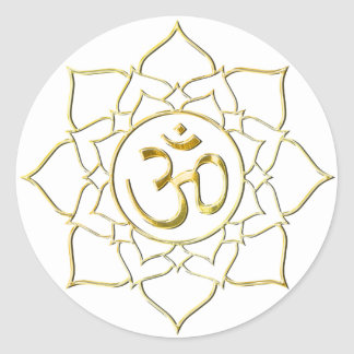 OM AUM ॐ Lotus Classic Round Sticker