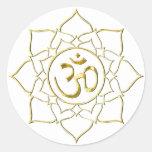 OM AUM ॐ Lotus Round Sticker
