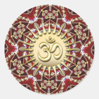 OM AUM Earthy Gold Mandala Meditation Yoga Sticker