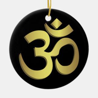 Om ( Aum ) Namaste yoga symbol Ceramic Ornament