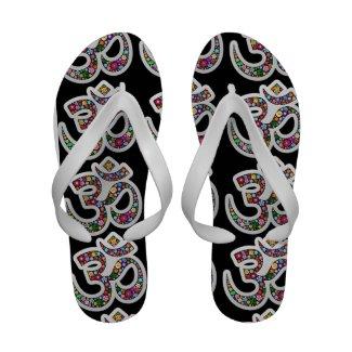 Om Aum Namaste Yoga Symbol Flip_Flops Flip Flops