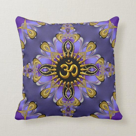 Om (Aum) Purple Gold Pretty Cushion / Pillow