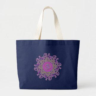Om (aum) symbol damasks tote bag (black)