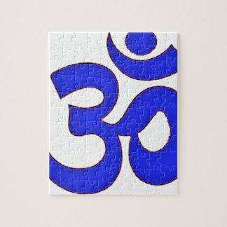 OM AZUL, aum, sánscrito, mantra, yoga, tantra Puzzle