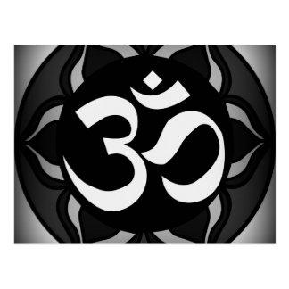 Om Black & White Peace Symbol Postcard
