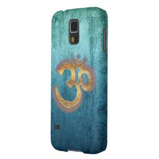 OM blue brass gold damask Asia Yoga Spiritualität Galaxy S5 Cover
