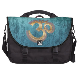 OM blue brass gold damask Asia Yoga Spiritualität Bags For Laptop
