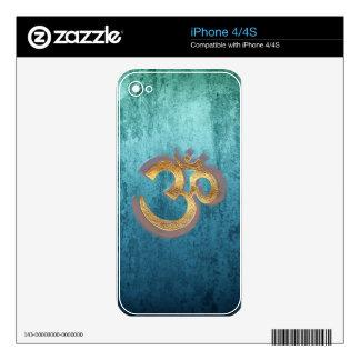 OM blue brass gold damask Asia Yoga Spiritualität Skins For iPhone 4S