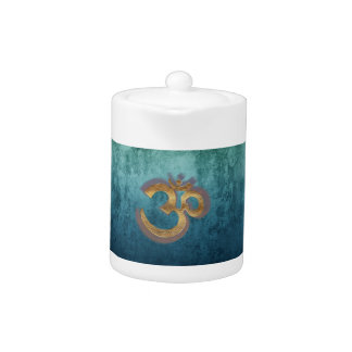 OM blue brass gold damask Asia Yoga Spiritualität Teapot