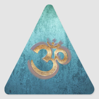 OM blue brass gold damask Asia Yoga Spiritualität Triangle Sticker